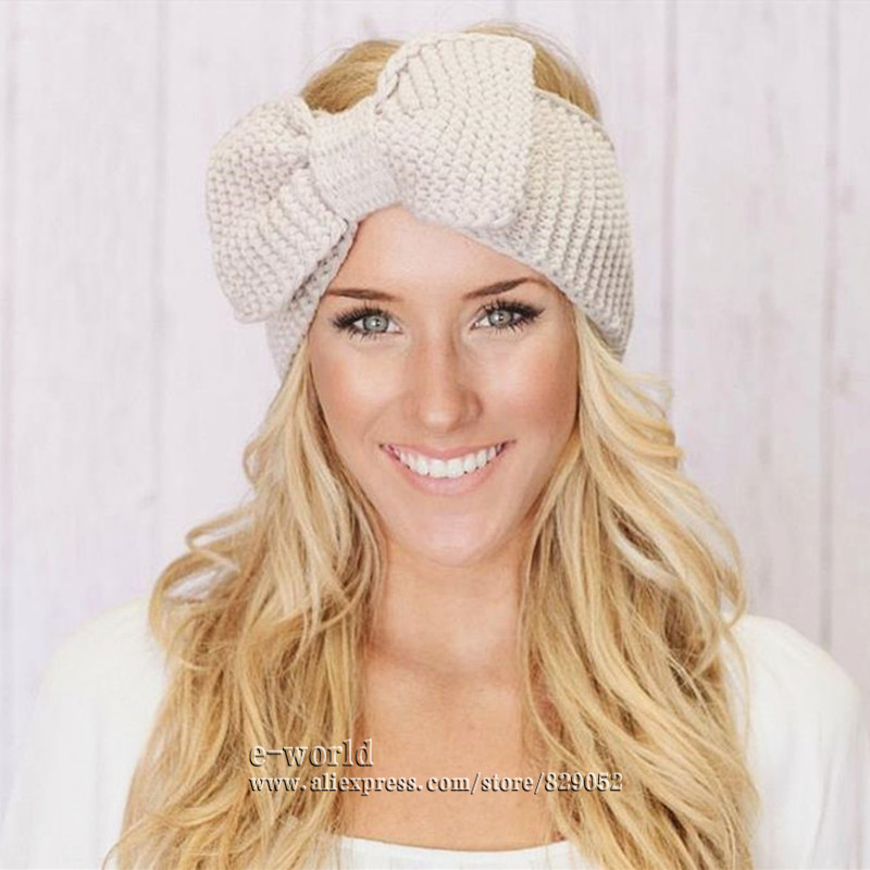New 15 Colors Cotton Crochet Bow Headband Turbante Ear Warmer Winter Women Turban Head Wrap Hair Accessories Free Shipping A0413(China (Mainland))