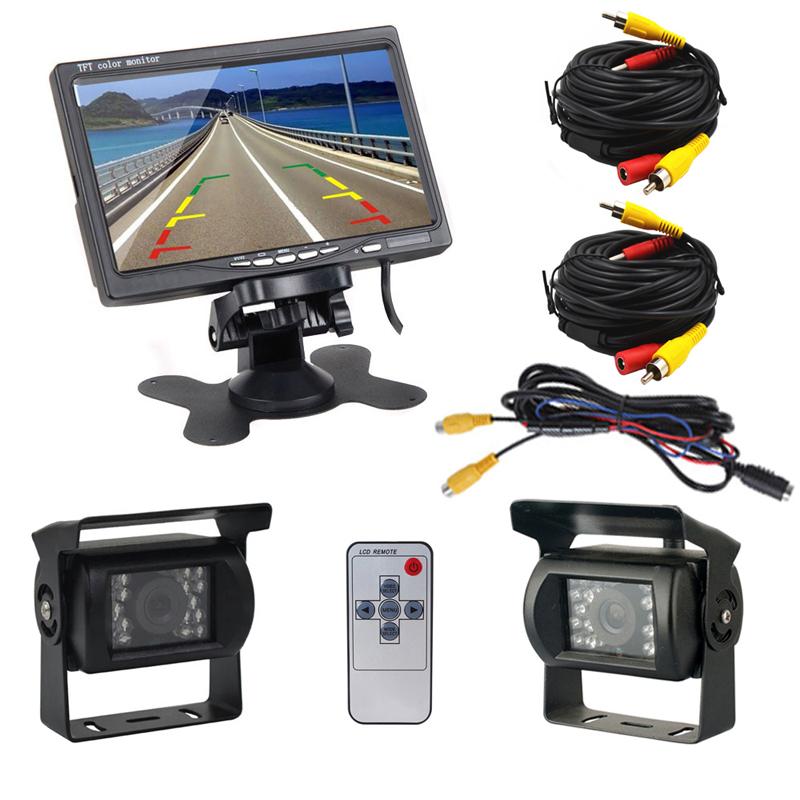 "Dual Backup Camera and Monitor Kit For Bus Truck RV, IR LED Night Vision Waterproof Rearview Camera + 7"" LCD Rear View Monitor(China (Mainland))"