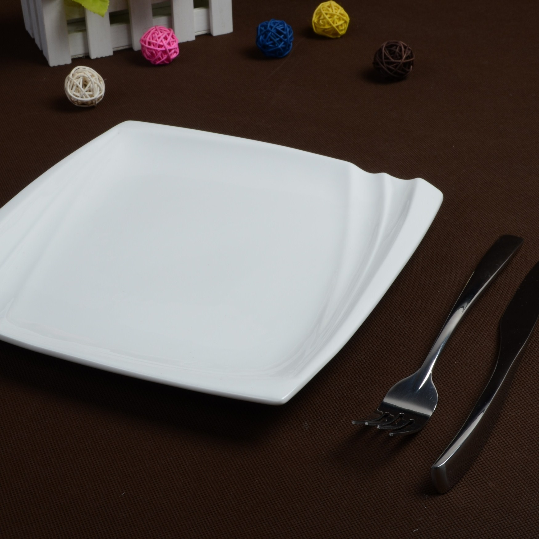 Kitchen utensils 8 10 pure white ceramic square flat plate western dish plate steak dish(China (Mainland))