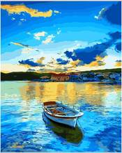 With DIY frame,blue Lake & boat ,Modular pictures, picture by numbers,poster, coloring by numbers,canvas painting,wall art RS166(China)