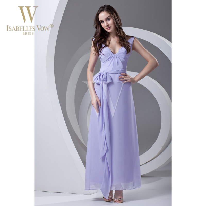Summer Style Bridesmaid Dress Lavender Sexy V Neck Ankle Length Belt Chiffon Sheath Long Dress For Party Can Be Customized WD341(China (Mainland))