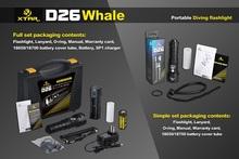 1set  XTAR D26 Whale CREE XM-L2 U3 LED 4 mode 1100 lumens Diving Flashlight +26650 battery+charger(China (Mainland))