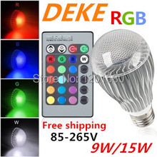 RGB LED Bulb 2015 New arrival LED RGB bulb E27 9W 15W AC 85-265V rgb led Lamp with Remote Control multiple colour led rgb lamp(China (Mainland))