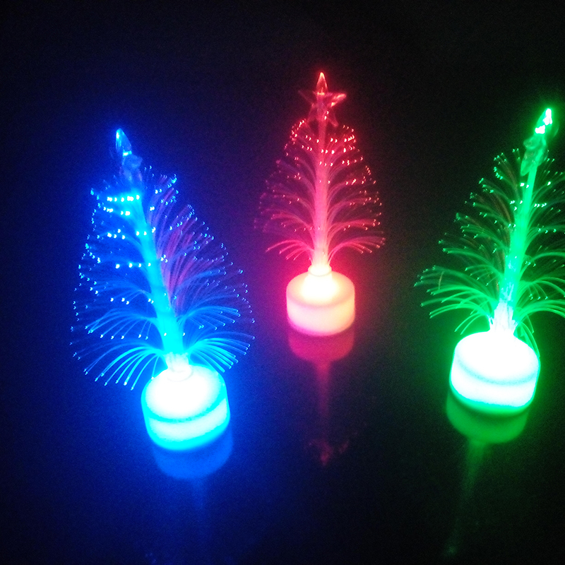 Y Christmas Gifts Toys Change Countenance Colorful Fiber Optic Desktop Christmas Tree Can Be Pasted Led Night Light(China (Mainland))