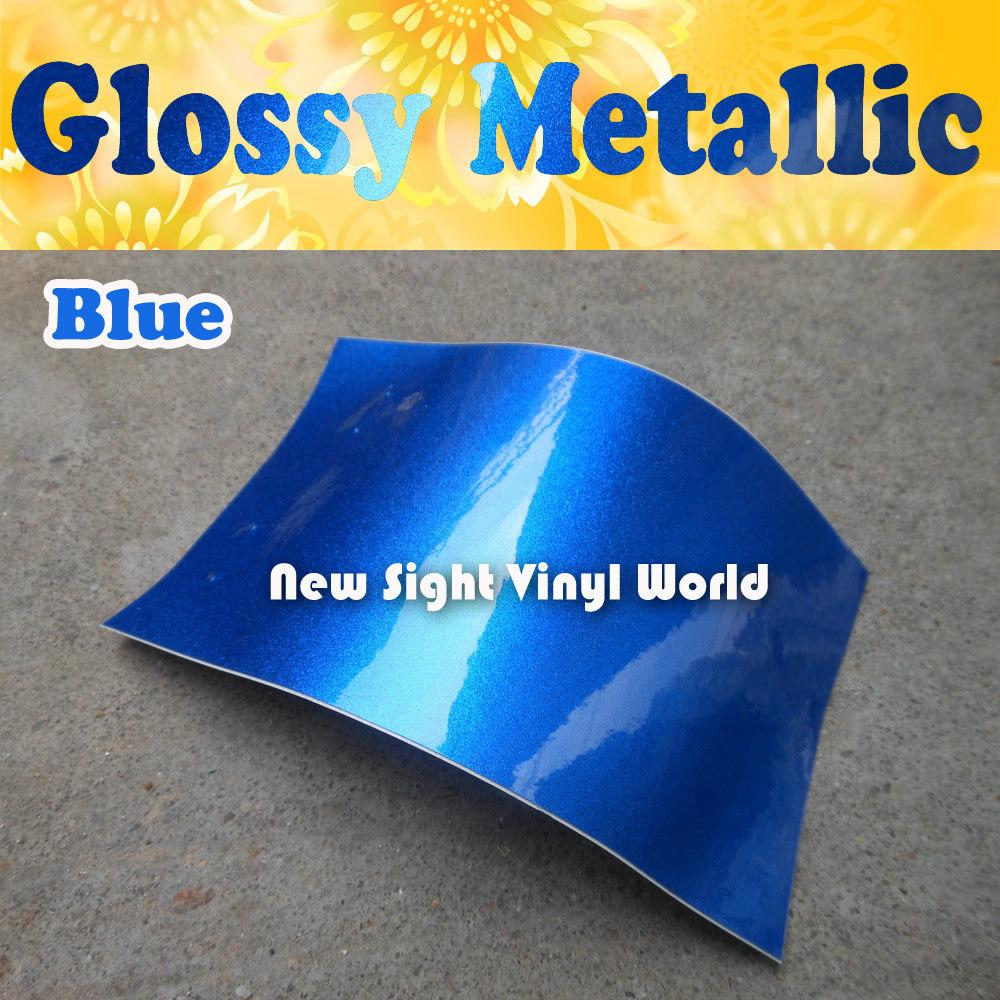 High Quality Gloss Blue Metallic Vinyl Wrap Glossy Metallic Blue Vinyl Film Air Free For Vehicle Wraps Size:1.52*20M(5ft*65ft)(China (Mainland))