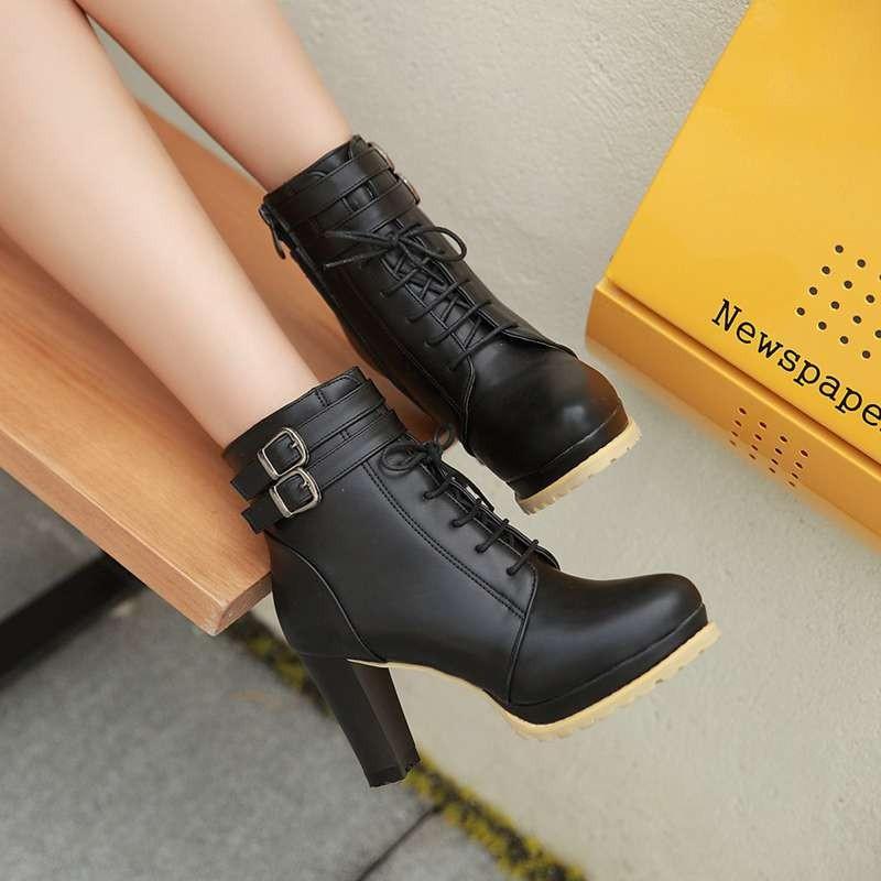 ซื้อ พลัสSize34-43 2016ใหม่เซ็กซี่ผู้หญิงบู๊ทส้นสูงหนาแพลตฟอร์มปั๊มพรหมรองเท้าข้อเท้าชุดฤดูหนาวรองเท้าหิมะSBT2155