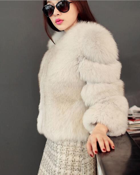 Зимнее пальто женщины импорт искусственного меха лисы пальто элегантный шуба свободного покроя круглым воротом одежда кардиганы зимние пальто женщин