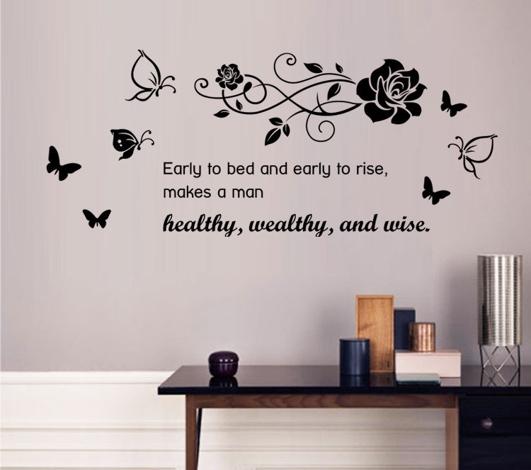 9085 Art Characters Wall Stickers Healthy,Wealthy,and Wise For Kids Room DIY Home Decorations Wall Decals Boys Girls Wall(China (Mainland))