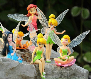 High Quality (6pcs/lot) Tinkerbell Fairy PVC Figure Adorable tinker bell Anime Toy Action Figures Toys gift wedding decoration(China (Mainland))