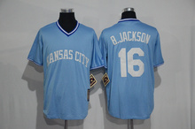 2016 Mens 16# Bo Jackson jersey Color blue beige Stitched Throwback Jerseys(China (Mainland))