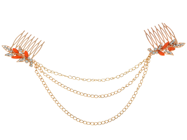 Women Punk Hair Cuff Pin Clip 2 Combs Tassels Chains Head Band Gold Plated Fashion Party Wedding Accessories Hair Jewelry(China (Mainland))