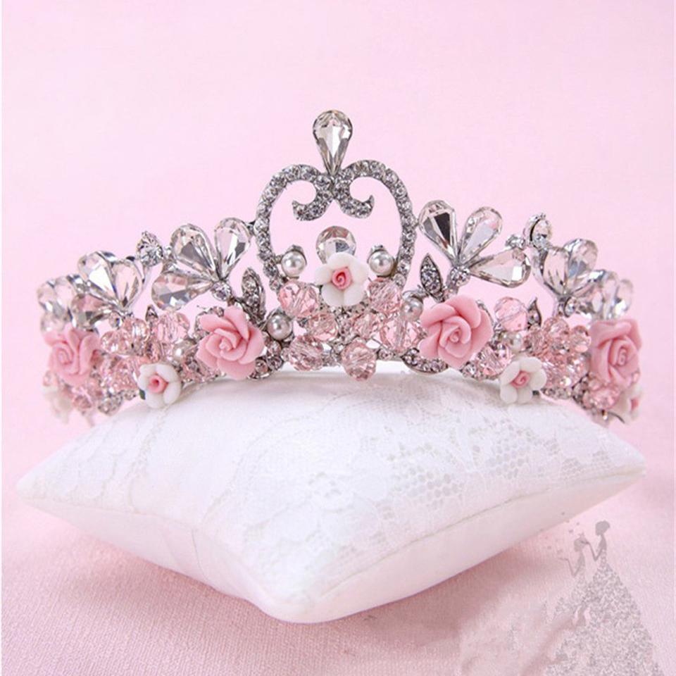 Pink Beaded Crystal Ceramics Formal Wedding Bridal Crown 2017 Princess Sparkling Party Wedding Hair Accessories Velos De Novia