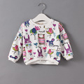 2016 Spring autumn Baby Girl T shirt Cartoon Animal Graffiti Long Sleeve Cotton Girls Tops Kids