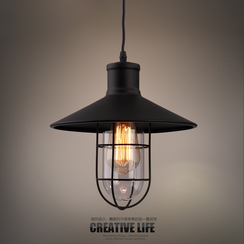 Creative personality retro lampshade glass industry minimalist restaurant bar iron chandelier pendant hanging lamp AC220V(China (Mainland))