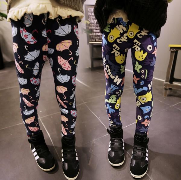New Arrival 2016 Winter Girls Leggings Children Cute Cartoon Umbrella Full Printed Skinny Pants Leisure Kids Warm Trousers(China (Mainland))