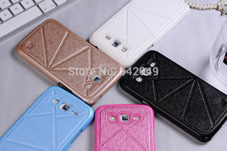 New Fashion Android Phones Carlgold Silk PU Leather & Environmental Plastic Back Case Cover For Samsung Galaxy Grand 2 G7106(China (Mainland))