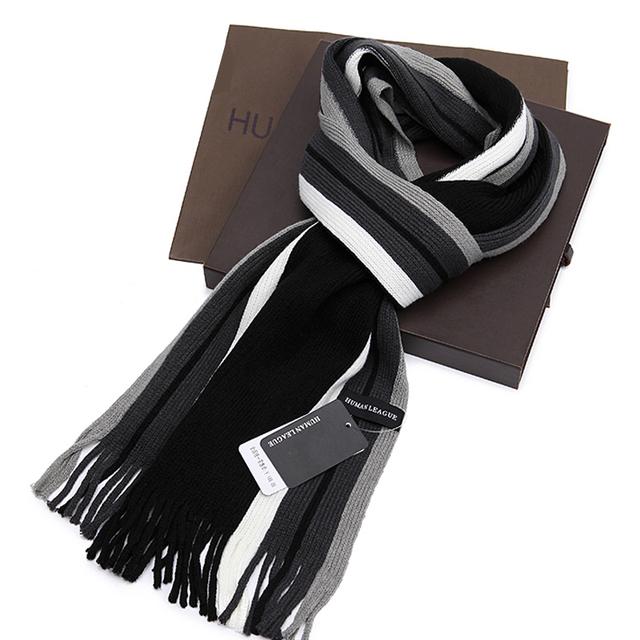 Хлопок шарф мужчины черный белый полоска зима шарф мужчины длинная тёплый шарф марка шарф
