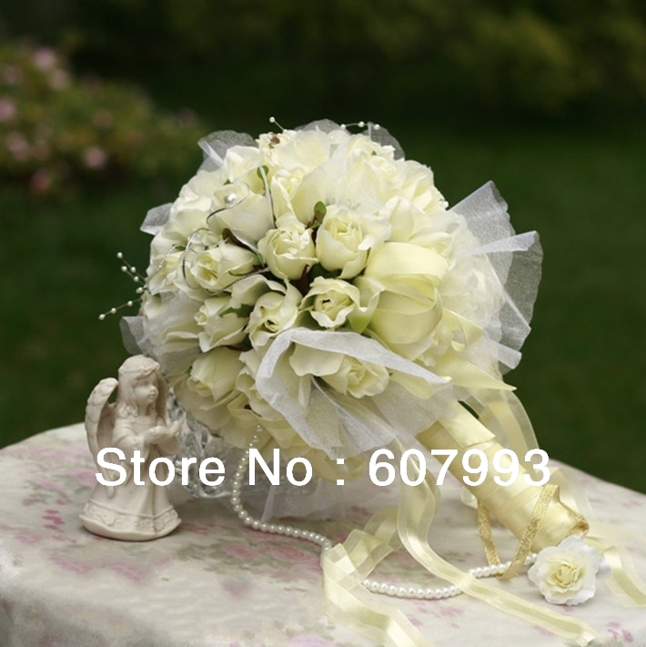 bridal bouquet Rose wedding flower bridesmaid bouquet party decoration artificial silk flowers, Free shipping(China (Mainland))