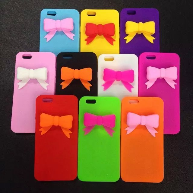 Original New Popular Colorful 3D bow lovely girl lady soft Silicone Rubber phone case cover for iPhone 4 4S 5 5S SE 6 Plus cheap(China (Mainland))