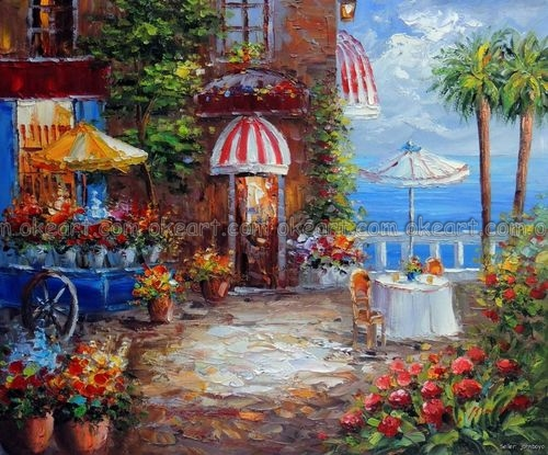 100% hand painted French Restaurant Shoie Ocean Flower Cart Sidewalk Table Oil Painting free shipping High quality(China (Mainland))