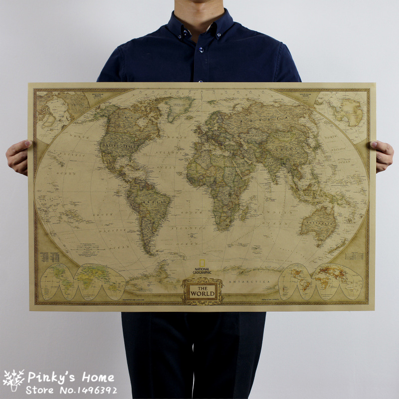 72x46.5cm Vintage World Map Travel Home Decoration Detailed Antique Poster Wall Chart Retro Paper Matte Kraft Paper Map World(China (Mainland))