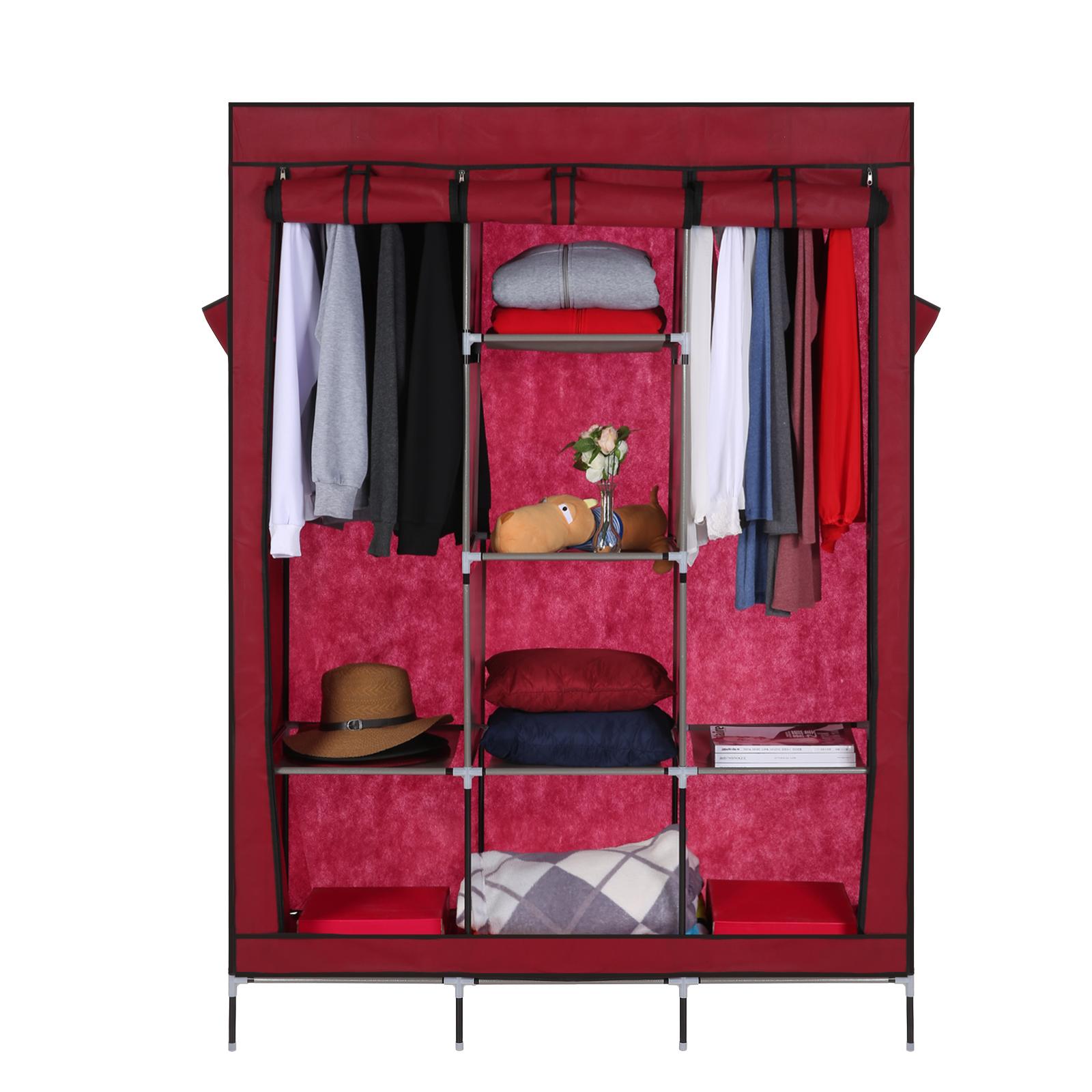 Homdox Large size 127 x 45 x 175cm Clothes Closet Organizer Storage Rack Portable Wardrobe Hanger Armoires Wine Red 22