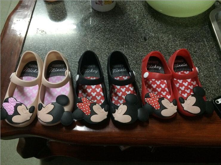 2015 Cartoon Cute Mickey Minnie Summer Children's Baby Girls Sandals First Walkers Jelly Kids Shoes Hign Quality Free Shipping(China (Mainland))