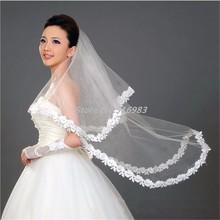 Schnelles Verschiffen Weiß Elfenbein Brautschleier 1 T eine Schicht Vestido De Noiva Hochzeit Zubehör 2015 neue Brautschleier mit Blume Schleier(China (Mainland))