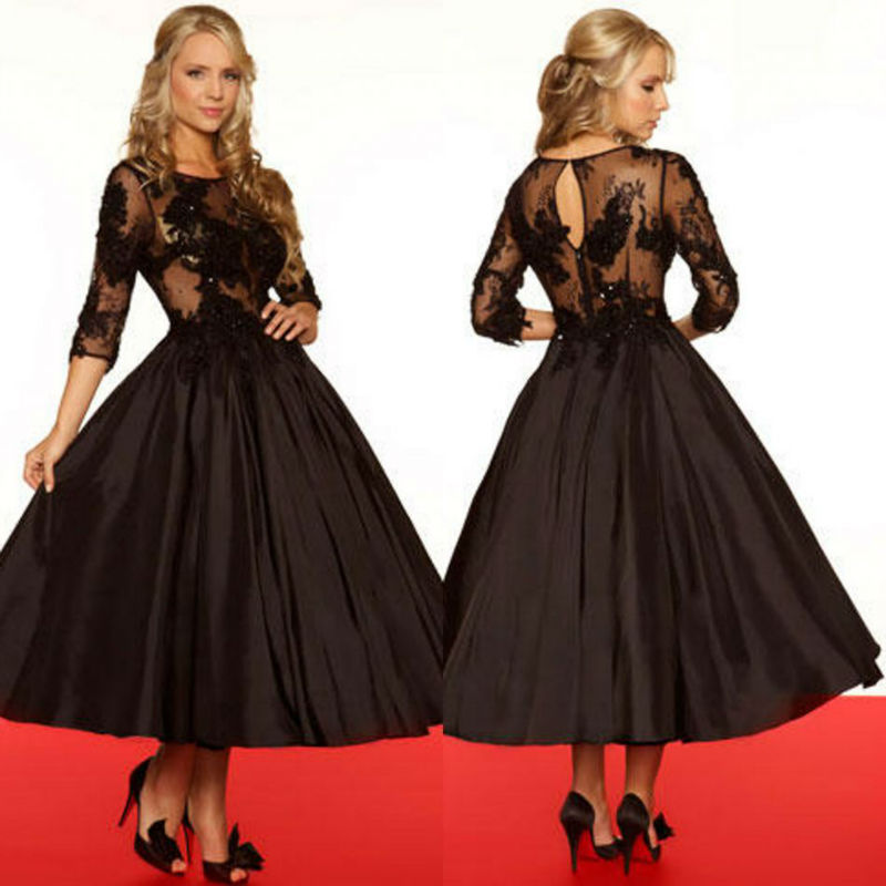cheap 3 4 sleeves see through black apliqued tulle bodice