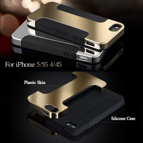 Hybrid Gold Hard Case For iPhone 5 5S 4 4S Luxury Phone Bag Back Cover Plate Plastic + Soft Silicon Protective Mobile Shell(China (Mainland))