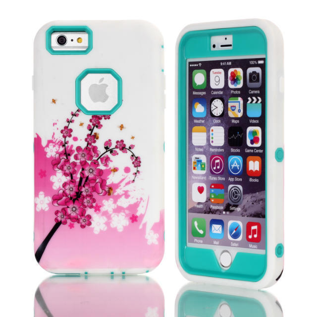 Robot Hybrid Anti Shock Armor Heavy Duty PC Silicone Back Case Skin Cover For iphone 6 Plus 5.5 With Flower Logo(China (Mainland))