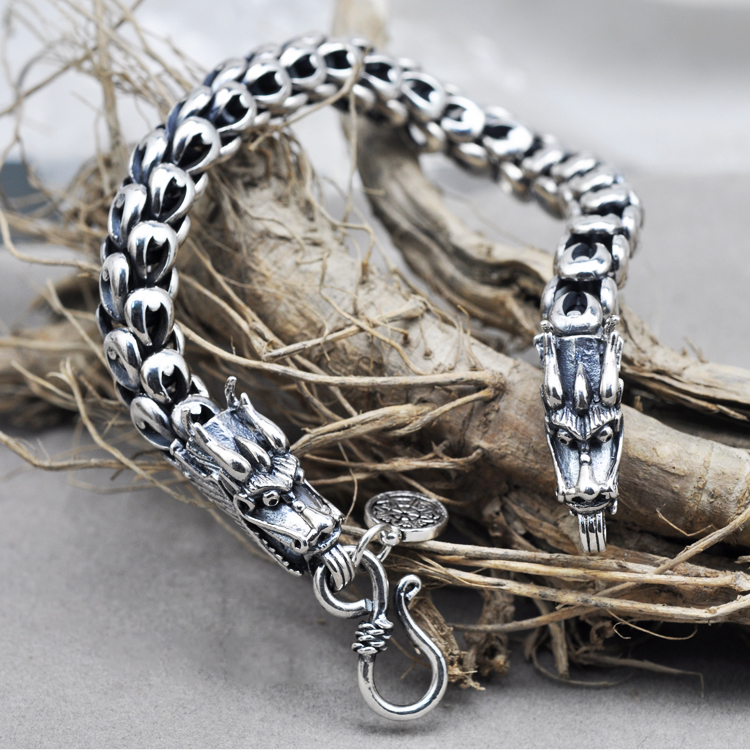 Genuine 100% Real Pure 925 Sterling Silver Bracelet 5-7MM Thickness Dragon Scale Bracelets for Men Women fine jewelry YB11<br><br>Aliexpress