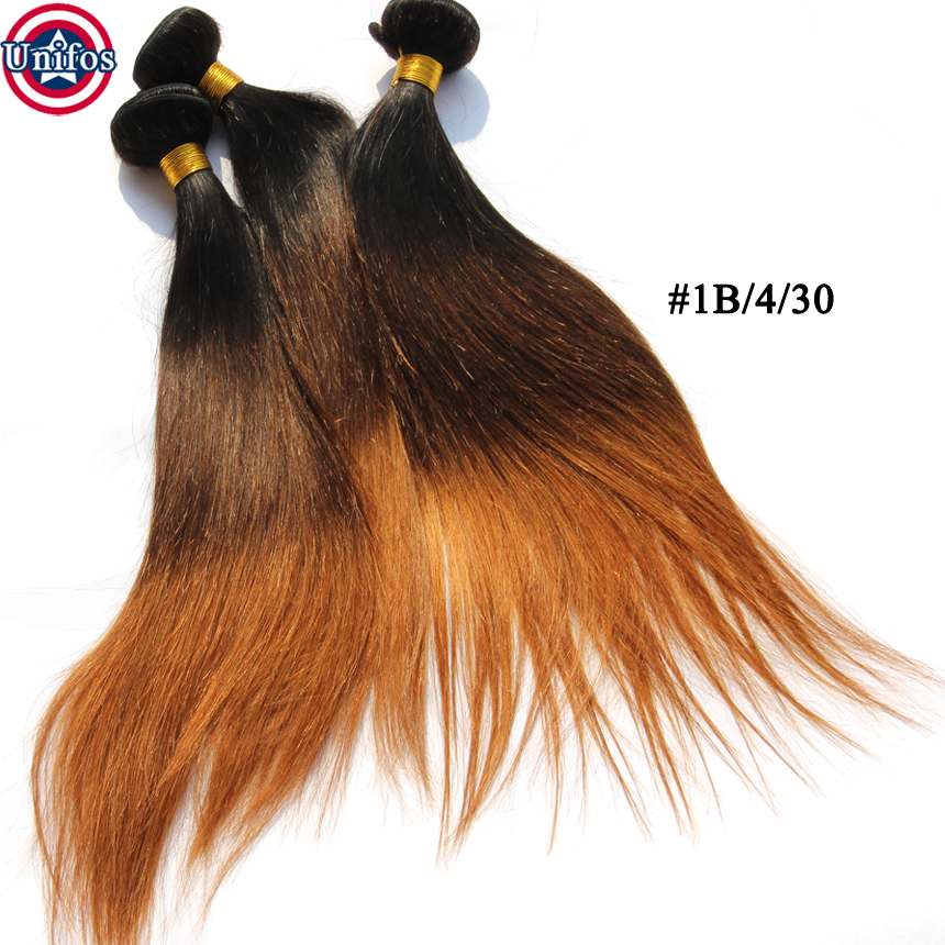 Ombre Brazilian Hair Weave Bundle Ombre Three Tone Hair Weave 1B/4/30 Ombre Human Hair Extensions Ombre Brazillian Straight Hair