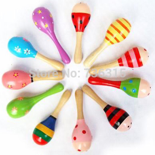 A11 Hot Wooden Maraca Wood Rattles Kid Musical Party Favor Child Baby Shaker Percussion Musical Instrument Toy M0083 P(China (Mainland))