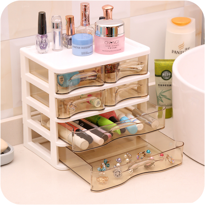 Multilayer plastic storage box makeup organizer with drawer Desktop cosmetic Jewelry Display case home decor(China (Mainland))