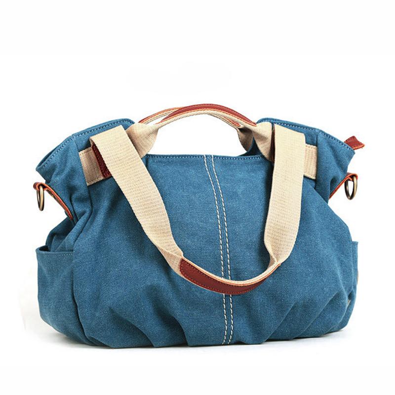 2015 spring and summer women canvas bag with leather hand shoulder multi-purpose bucket tide female bag diagonal cloth handbag<br><br>Aliexpress