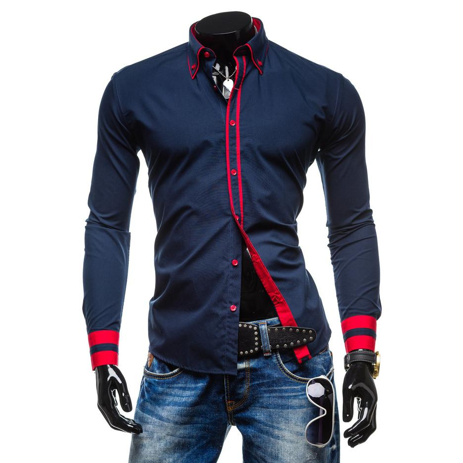 New mens long sleeved dress shirts collar button unique for Unusual shirts for men