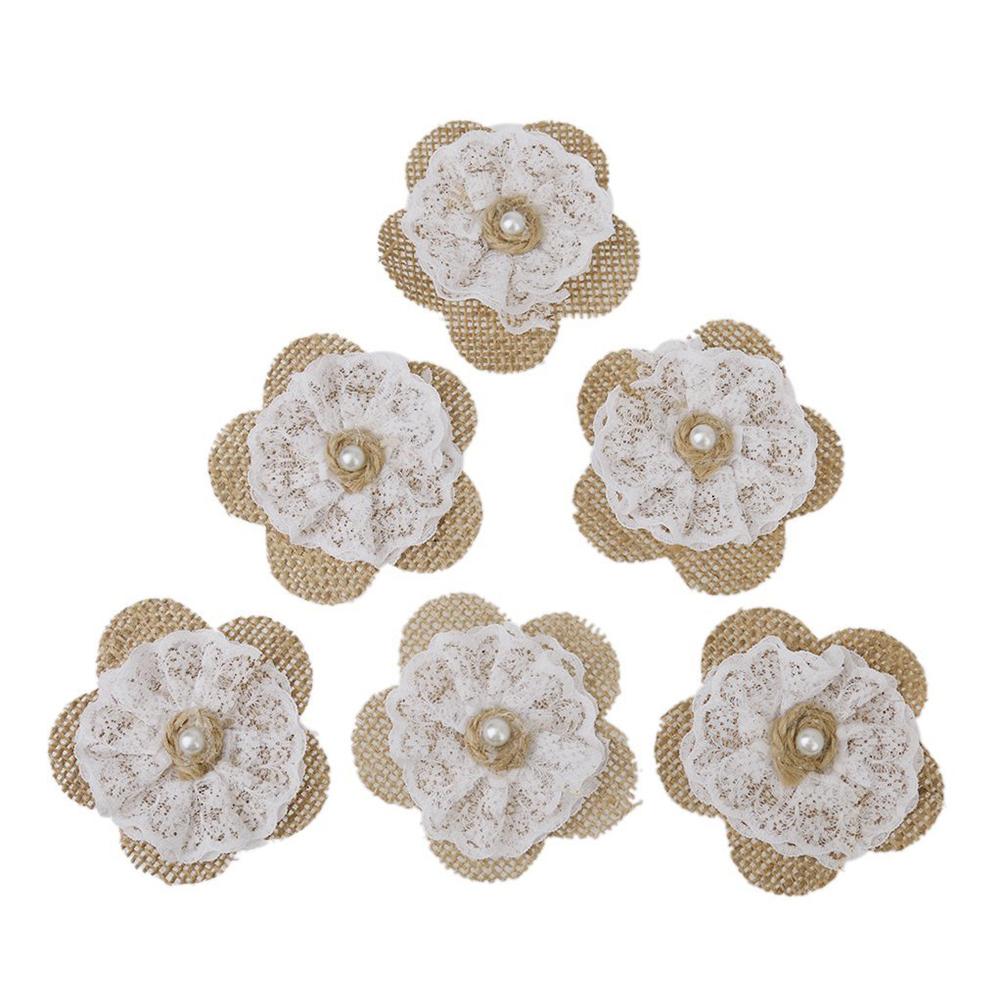 6pcs Vintage Hessian Burlap Lace Flowers Bridal Wedding Decor Rustic Craft DIY Making Decoration(China (Mainland))