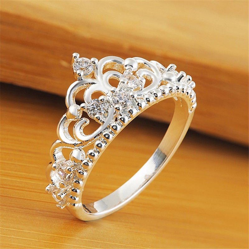 1 Pcs Simulated Diamond Jewelry Ring Crown Rings for Women Bijoux Vintage Anel Feminino for Wedding Jewellery(China (Mainland))