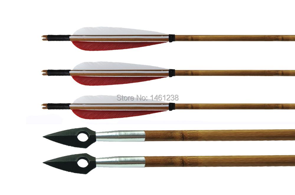 2 white1 red pure turkey feather 10pcs archery handmade bamboo arrow hunting iron arrowhead broadheads bow and arrow recurve bow<br><br>Aliexpress