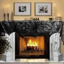 Halloween Decoration 1 Piece Black Lace Spiderweb Fireplace Mantle Scarf Cover Festive Party Supplies 45*243cm(China (Mainland))