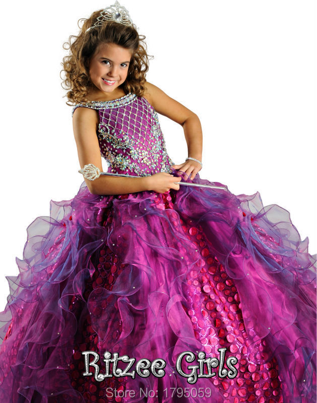 Fuchsia Flower Girls Dress Beaded Scoop Backless Ball Gowns Floor-Length Big Girls Thanksgiving Gowns Little Girls Pageant Dress(China (Mainland))