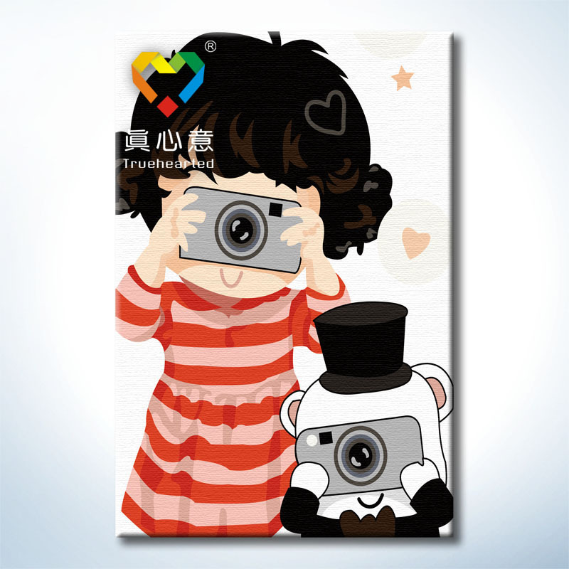Diy handed cartoon oil painting canvas painting by number acrylic paint oil painting framed(China (Mainland))