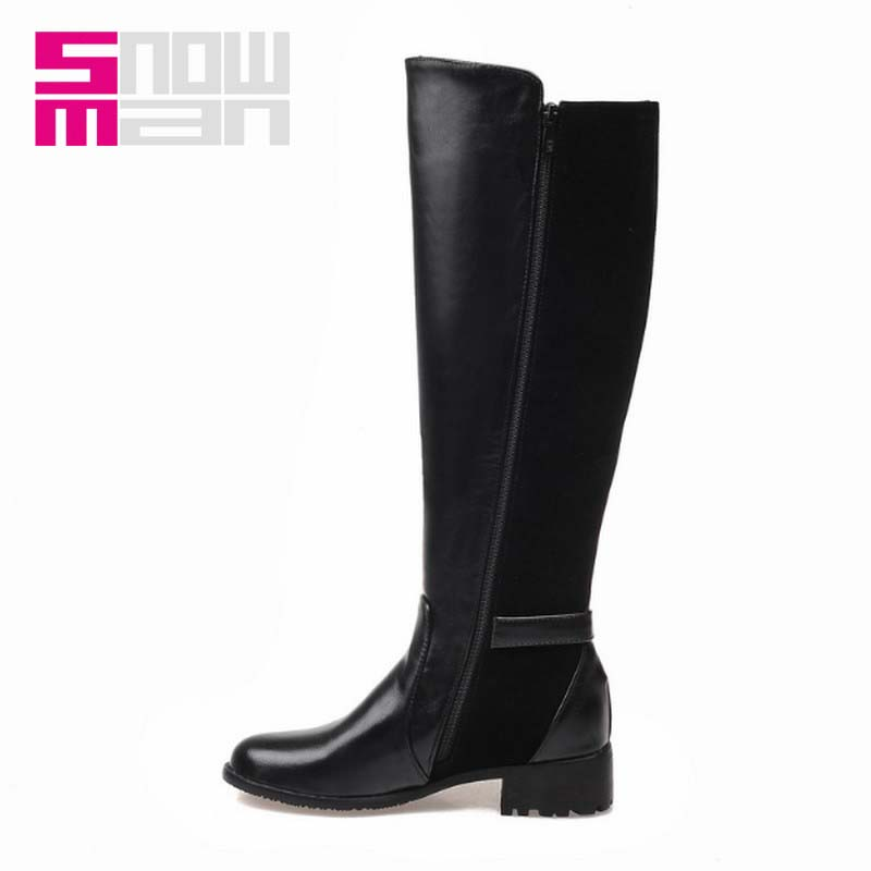 Fashion Woman Add fur Winter Boots Knee Boots Buckle Strap Zipper Patch Knee High Boots Lady's Chunky Heels Knight Boots Shoes