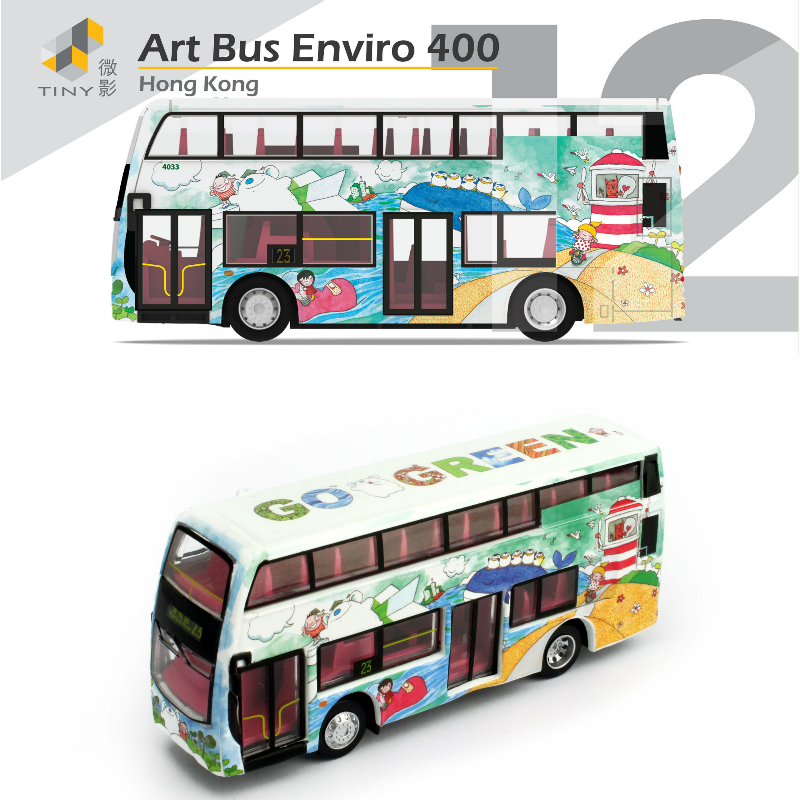 Tiny City 12 Art Bus Enviro 400 Made In Hong Kong 1/64 Mental Toy Cars Diecasts Toy Vehicles(China (Mainland))