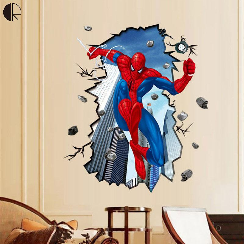 Cool spiderman 3d diy home decor wall stickers for for Cost of a mural