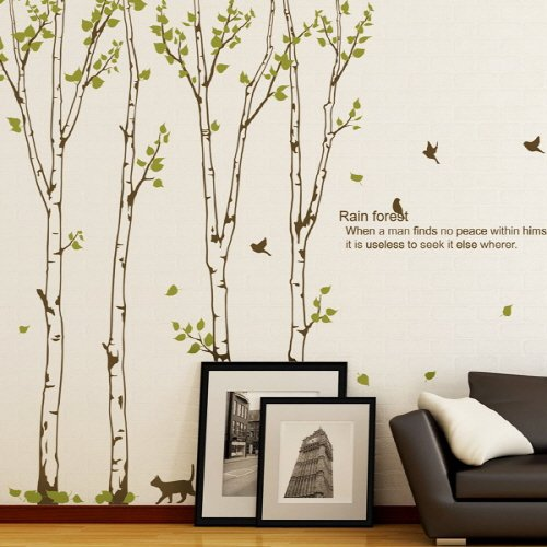 Birch Wall Stickers Large Birds Trees Wall Stickers, Large Forest Wall Decals Home Decor 240 x 400 cm Betula Wall Sticker(China (Mainland))