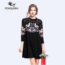 Foxqueen 2017 Новая Коллекция Весна Женская Мода Свободные Печати Черный A-Line Dress Большой Плюс Размер 4XL 5XL Высокое Качество Бесплатная Доставка 3107(China (Mainland))