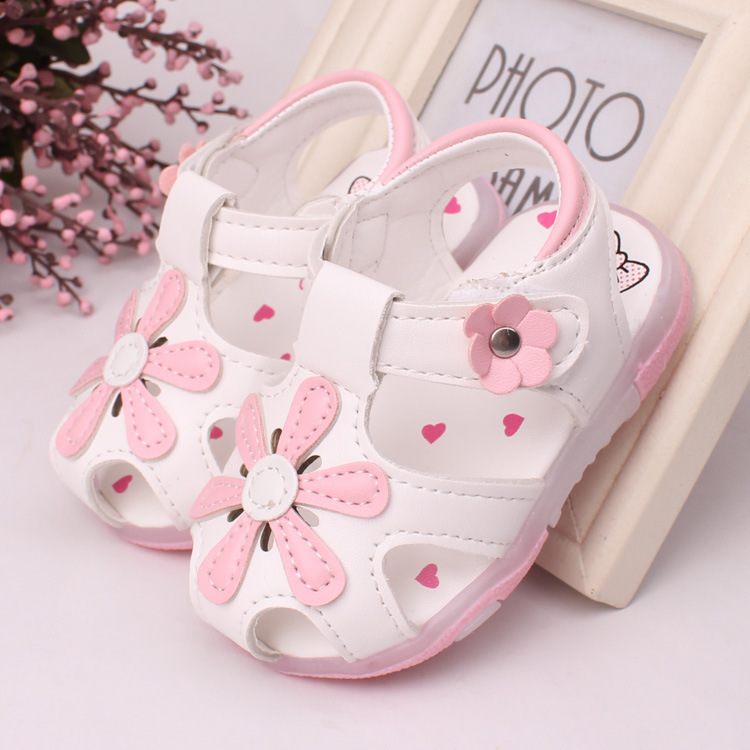 2016 LED light shoes 0 2 years old baby girls sandals ...