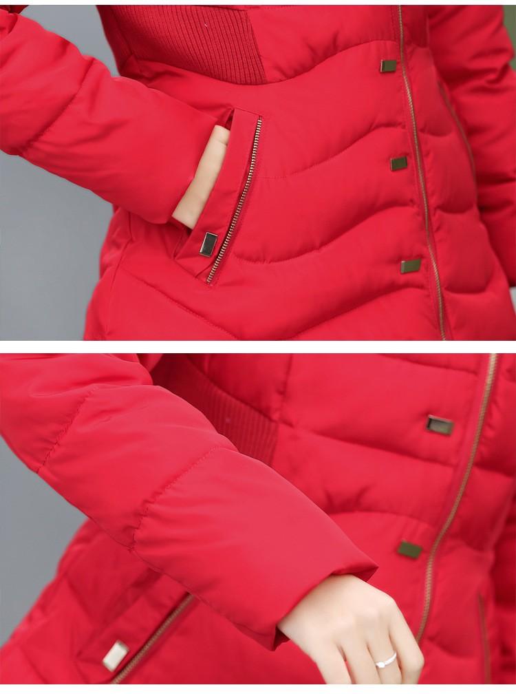 Скидки на Плюс Размер 2016 Новые Моды для женщин Зимняя Куртка Тонкий Сгущает заклепки Женщина Хлопка Вниз Пальто Длинный С Капюшоном Из Искусственного Меха Куртка пальто